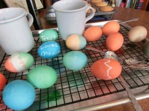 Drying Easter eggs