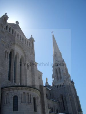 Church Exterior (back lit) with Steeple - Simple Catholic