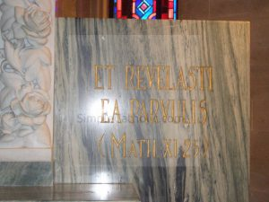 Church interior marble lettering - Simple Catholic
