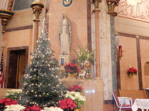 Blessed Virgin Mary Statuary Surrounded by Christmas Decor - Simple Catholic